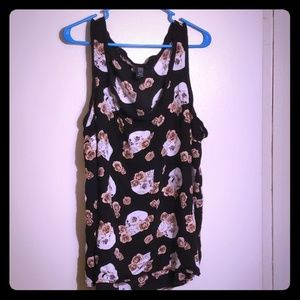 Torrid tank top with skulls and roses